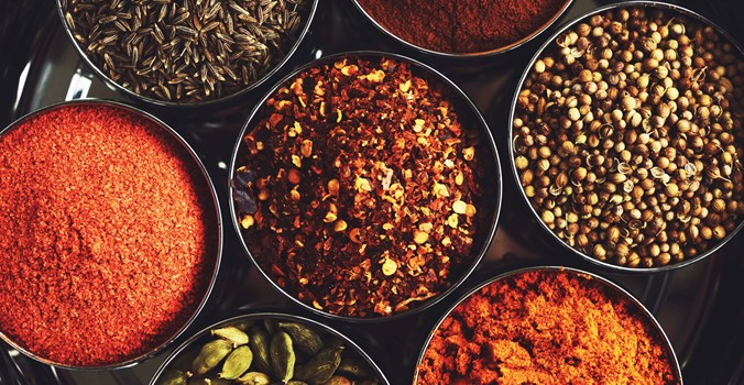 Sea Spice, Selection Of Spices In Bowls